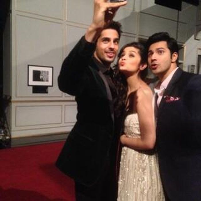 KJo's Koffee with his 'Students Of The Year' http://ndtv.in/19g8SHl