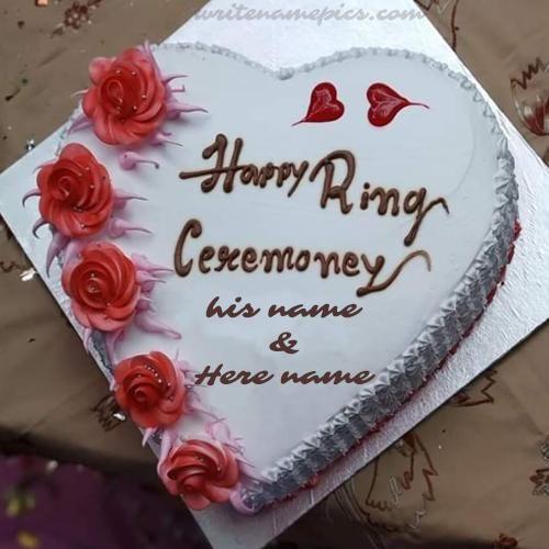 Write Couple Name On Happy Ring Ceremony Cake Happy Marriage Anniversary Cake Happy Anniversary Cakes Anniversary Cake