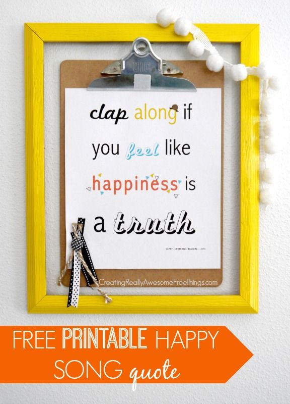 Happy song printable - C.R.A.F.T.