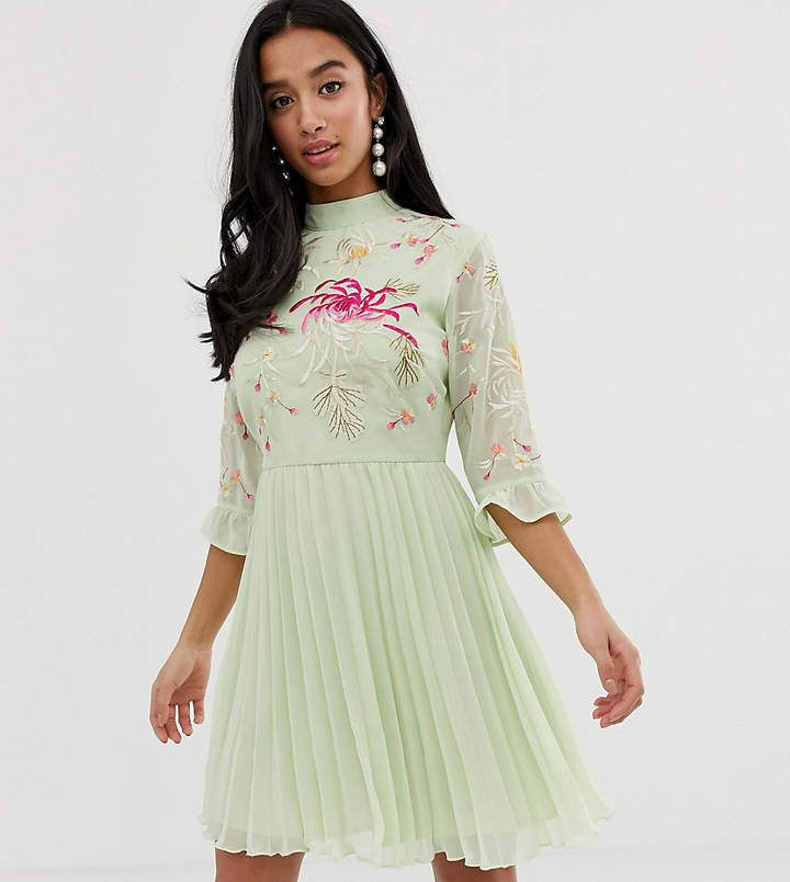 Asos Petite Asos Design Petite Embroidered Pleated Mini Dress With Fluted Sleeve Petitewomensclothing Trendypeti Pleated Mini Dress Mini Dress Green Prom Dress