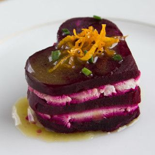 Heart Shaped Beet and Goat Cheese Appetizer with Meyer Lemon Vinaigrette