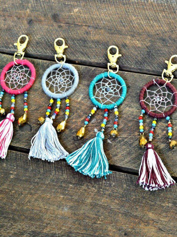 Artisan Crafted Bead Dreamcatcher Keychain