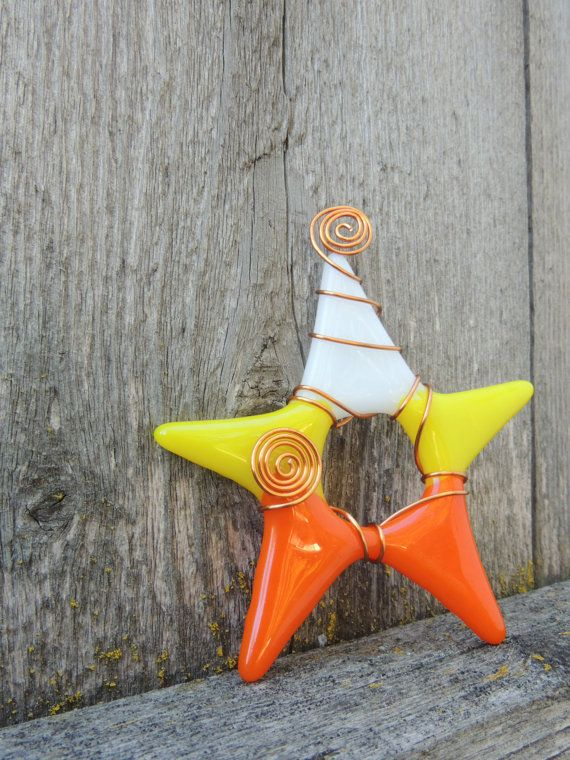 Fused glass star ornament  Candy Corn by fused4u on Etsy, $8.00