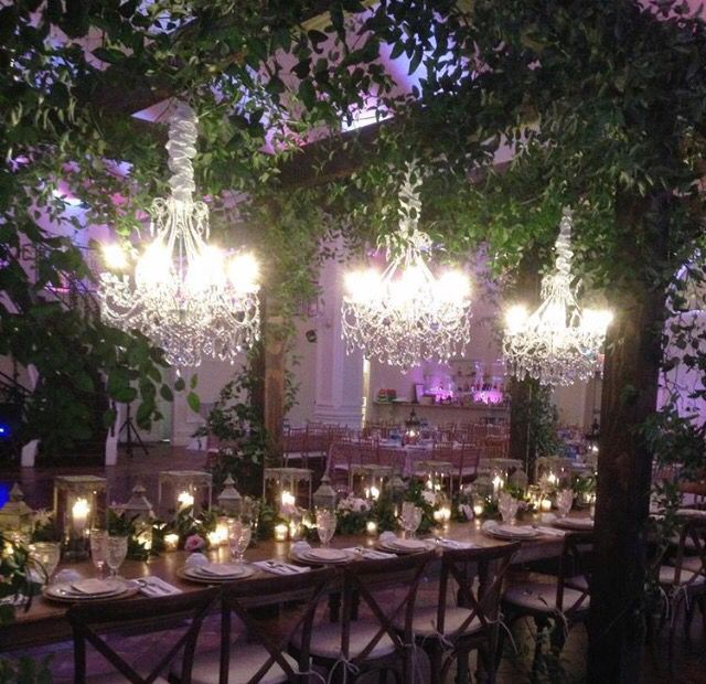 Ivy And Chandeliers Overhead By Bella Blooms Floral Wedding Decorations ChandeliersWhimsical