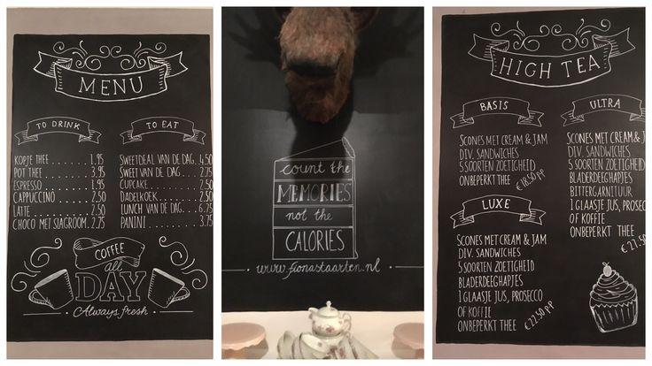 Een paar uur handletteren met de krijtstiften van Stempelfun: Fiona's taarten in Zeist, heeft een mooie menukaart! Je kunt nu, bij Stempelfun, ook een workshop handletteren volgen, klik op de link! (TIP voor vrijgezellenfeesten, andere feesten, teambuilding...voor wat eigenlijk niet?)