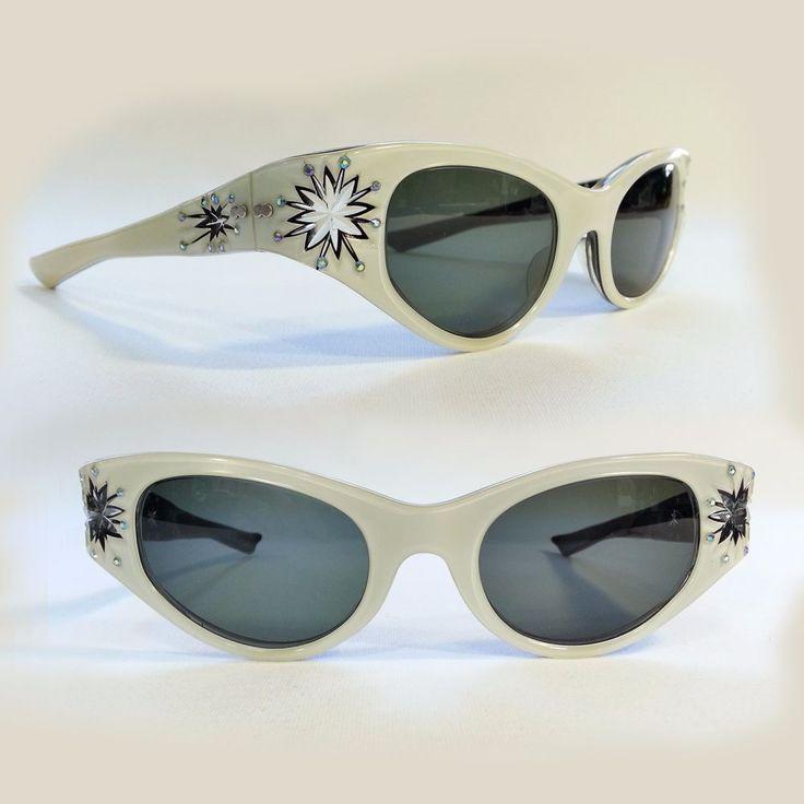 Vtg 50s Carved Starburst Rhinestone Cat Eye PRESCRIPTION LENSES May Sunglasses #May #CatEye
