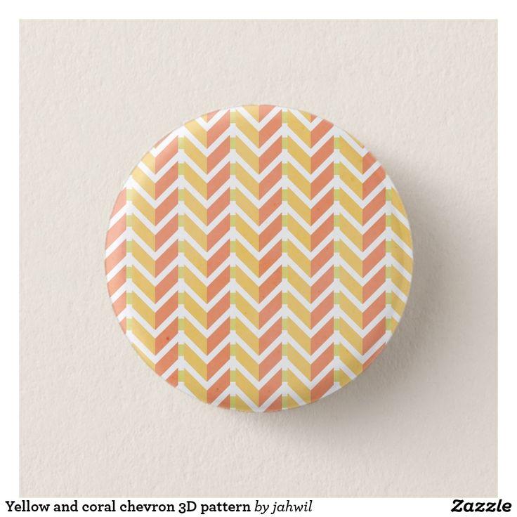 Yellow and coral chevron 3D pattern Pinback Button #button #grafikprod