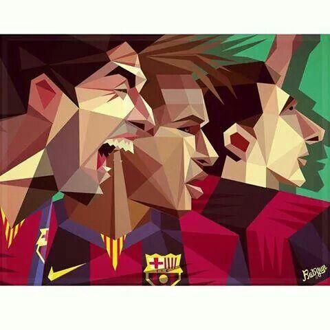 Un original dibujo imitando pliegos de papel con los jugadores del Barça #FCBarcelona #scraptbooking #art