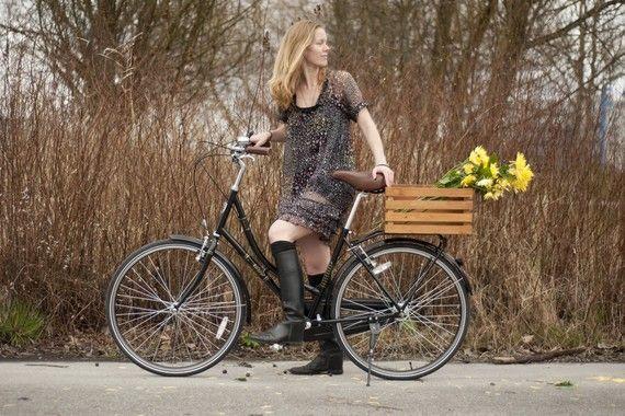 Wood Bike Basket