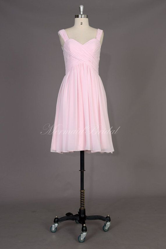 Light pink Bridesmaid Dress, pale pink bridesmaid gowns, Knee-length bridal party dresses