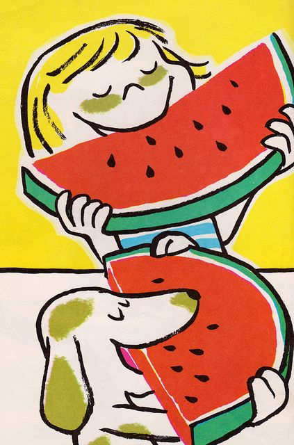 Summer by my vintage book collection (in blog form), via Flickr  written by Alice Low, illustrated by Roy McKie (1963).