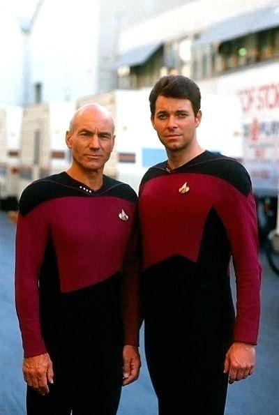 Captain Picard (Patrick Stewart) with his No. 1, Will Riker (Jonathan Frakes) | Star Trek TNG