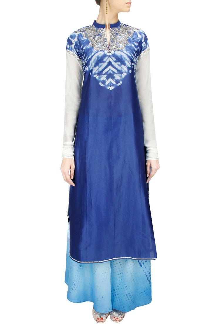Indigo shibori embroidered tunic with ocean blue palazzo BY KRISHNA MEHTA. Shop now at: www.perniaspopups... #perniaspopupshop #designer #stunning #fashion #style #beautiful #happyshopping #love #updates