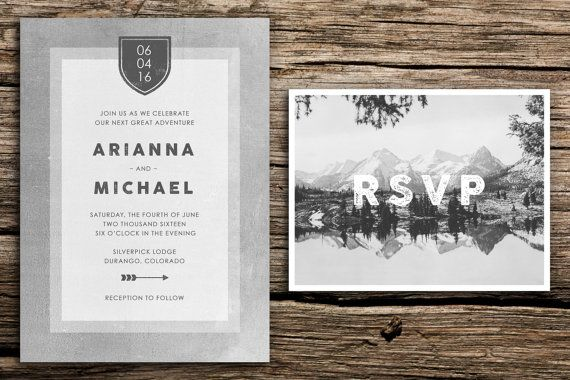 Mountain Minimalist Wedding Invitation Suite // by factorymade