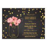 Gold Mason Jar Confetti Chalkboard Baby Shower Card
