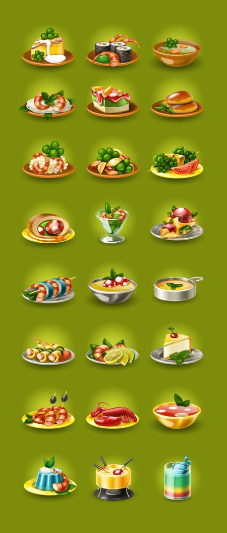 Food icons for game by Larisa Kalinovskaya, via Behance