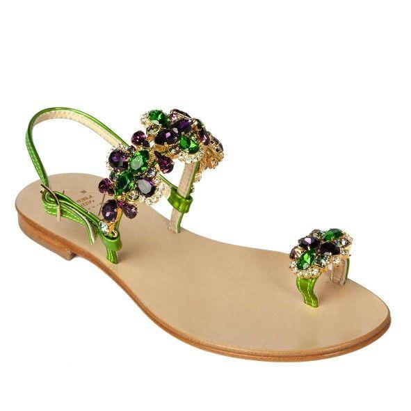 crystal embellished sandals - Green Emanuela Caruso Capri H4Cq6Swy