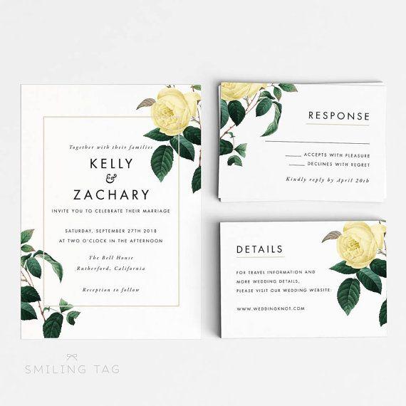 Floral Wedding Invitation Suite Wedding Invitation by SmilingTag