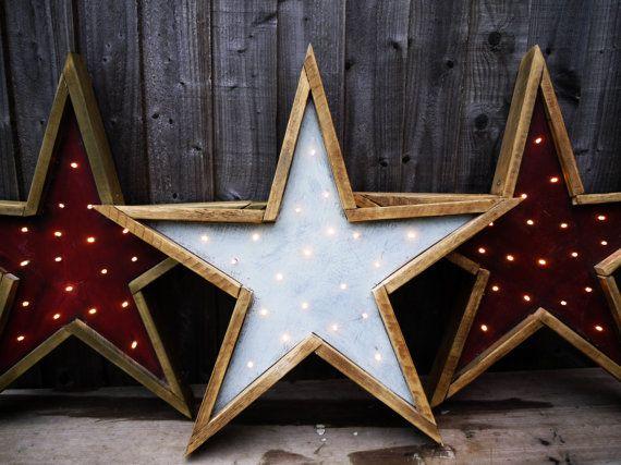 Barn Wood Star Light. Handmade Primitive by LamplightDesignCo