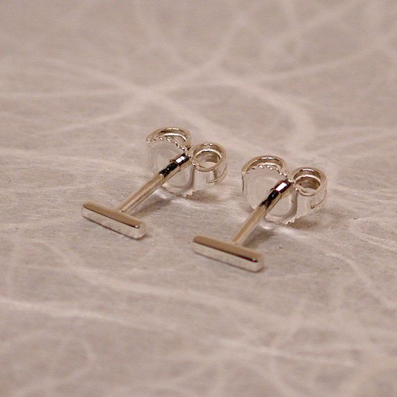 Teeny Tiny Earrings Thin Silver Studs Ultra Thin Bar Stud Earrings 5mm Skinny Minimal Jewelry by SARANTOS on Etsy, $20.00