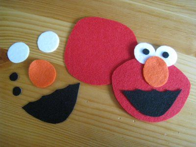 DIY felt face elmo - work on facial vocabulary, placement, directions, etc.  Visit pinterest.com/arktherapeutic for more #speechtherapy ideas