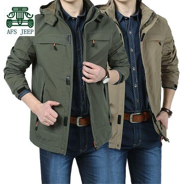 AFS JEEP Khaki/Army green pocket Men's Waterproof Jacket,Plus Size 3xl/4xl hooded solid Autumn/Spring Cardigan Jacket Cargo