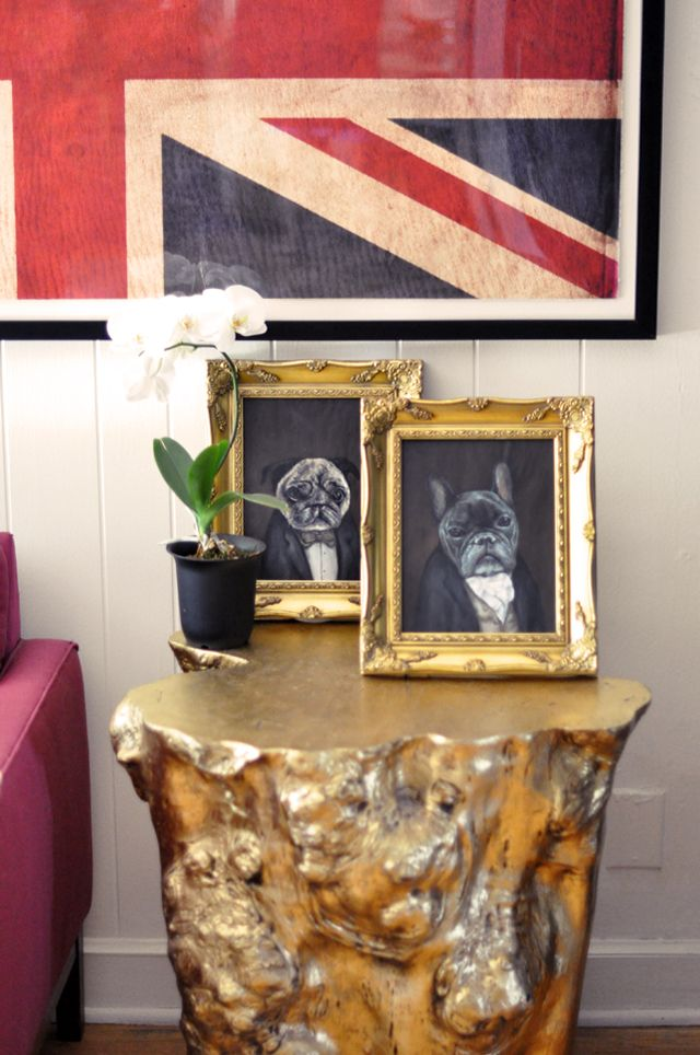 gold wood stump end table ♥