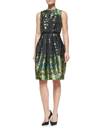 Sleeveless Floral-Print Cocktail Dress, Chartreuse by Carmen Marc Valvo at Neiman Marcus.
