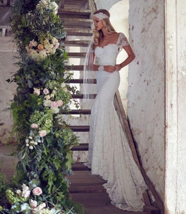Schitterde bruidsjurk recht model van hoogwaardig kant