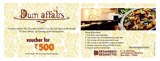 Gift Voucher Design for Dum Affair Restaurant - Delhi