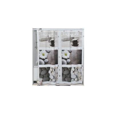 Evideco Zen Garden Printed Vinyl Shower Curtain