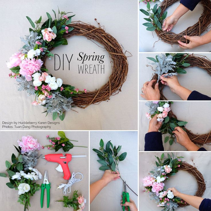 "Step 1: Gather all materials including an 18"" grapevine wreath, the flowers you would like to use and clippers. Glue gun is optional.Step 2: Cut all the greener"