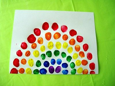 Fingerprint #Rainbow Craft for #children!  Perfect for St #Patrick's Day or a Spring theme unit.  #educational #resources #preschool