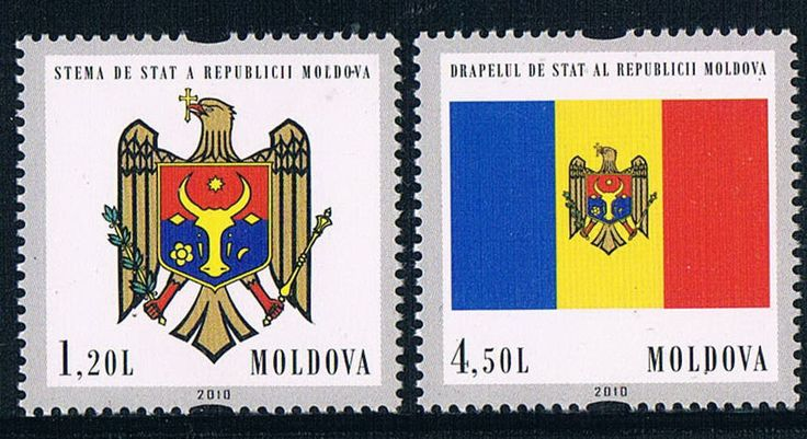 The flag emblem MD0087 Moldova 2010 20 anniversary of independence of 2 new 1201