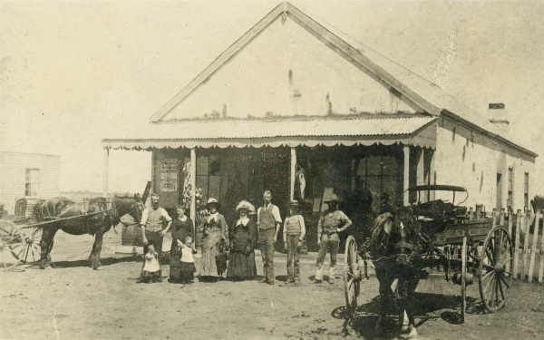 Men, women and children outside store or shop at Wirrumbirchip [picture], State Library of Victoria.  Name shortened to Birchip, Wirrumbirchip was the name given to their pastoral station in the 1840s by Hugh Mann and James Falconer.