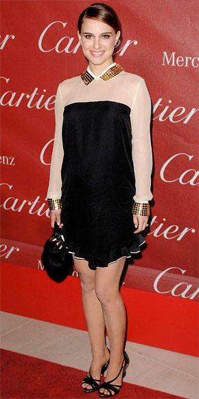 Natalie Portman wearing a studded silk Vionnet dress with Cartier Trinity earrings, Christian Dior heels and a purse.