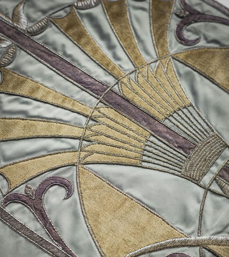 Montano Couture Fabric on Seta Imperiale. A modern and intricate design with Art Deco elements. As seen at Decorex 2016.