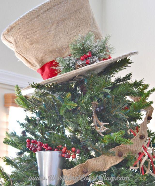 Burlap snowman hat Christmas tree topper 7232