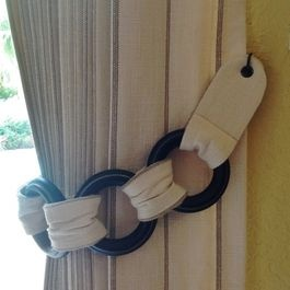 Curtains tie backs - use hook to secure to wall