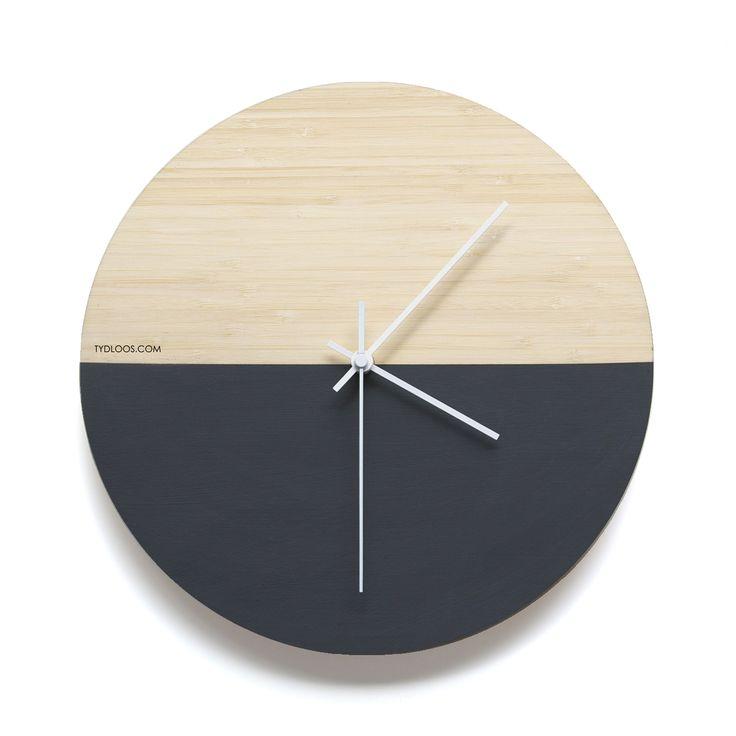 Black Hemisphere Wall Clock Half unfinished natural