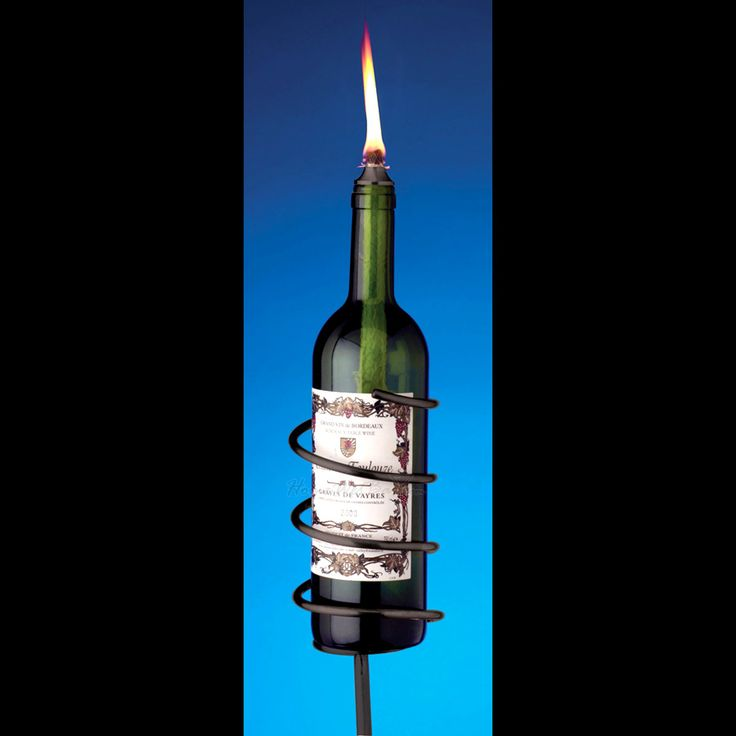 Black Wine Bottle Garden Torch Kit 105