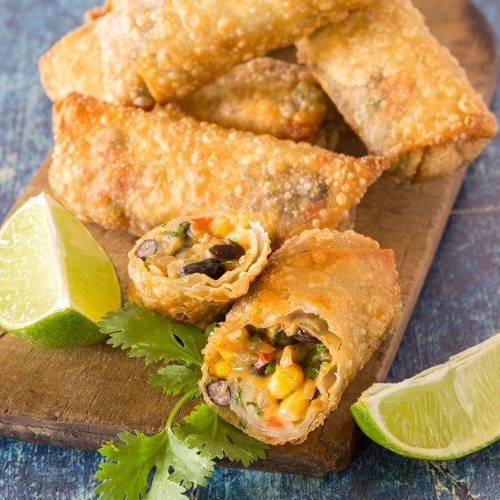 Addictive southwest egg rolls.  Ooey gooey Mexican filling, flaky, crunchy outside.  You have a treat that is hard to walk away from.