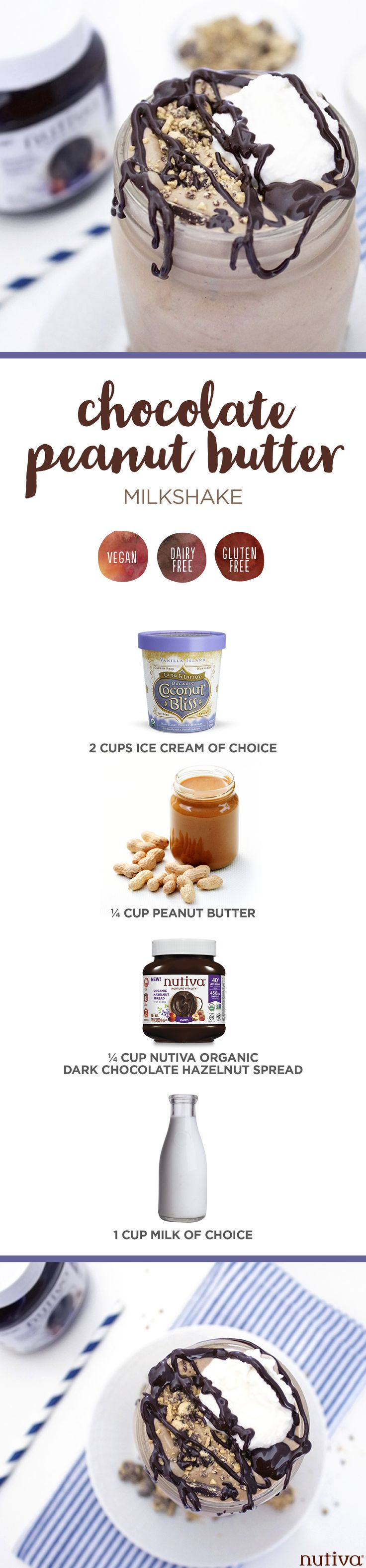 Chocolate Peanut Butter Milkshake kitchen.nutiva.com Nutiva Organic Vegan Ingredients
