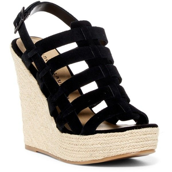 Chinese Laundry Dance Party Platform Wedge Sandal ($45) ❤ liked on Polyvore featuring shoes, sandals, black, black wedge shoes, ankle strap wedge sandals, black wedge espadrilles, platform espadrille sandals and platform sandals