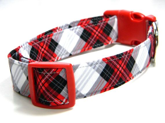 Plaid Dog Collar: Scottie Plaid… Red, Black, White, and Gray Plaid, Grey, Pet Collar  – Pets