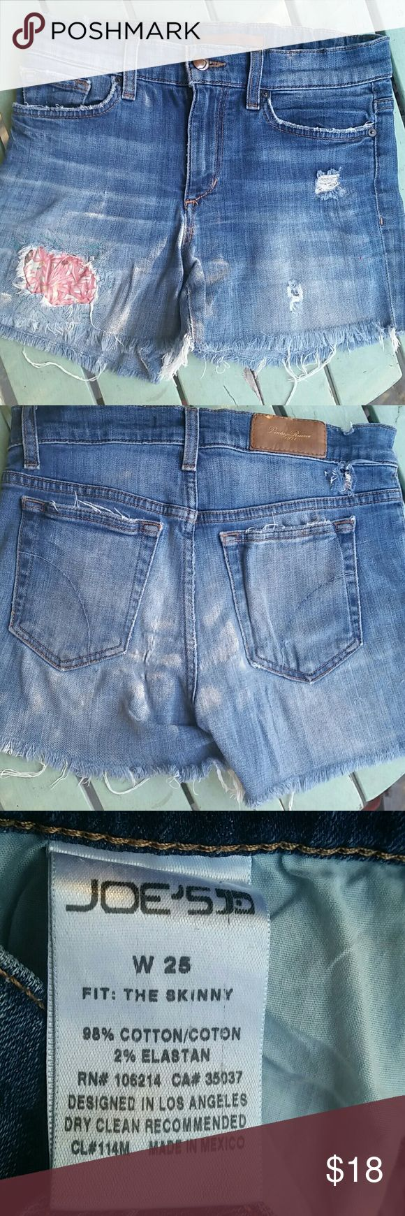 Joes JEANS cutoff shorts 25W CUTE cutoffs with patch Joe's Jeans Jeans