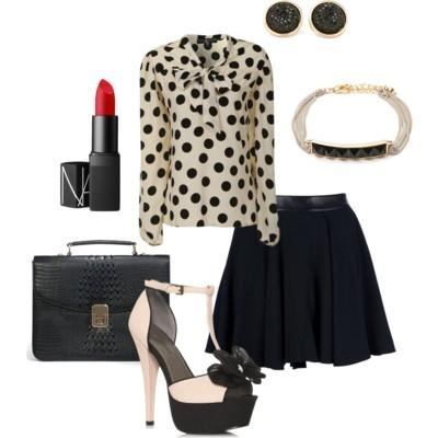 Pin to Win $500! A girly-girl, black & white ensemble. Enter here: https://www.facebook.com/justfab/app_137377669785610?ref=ts