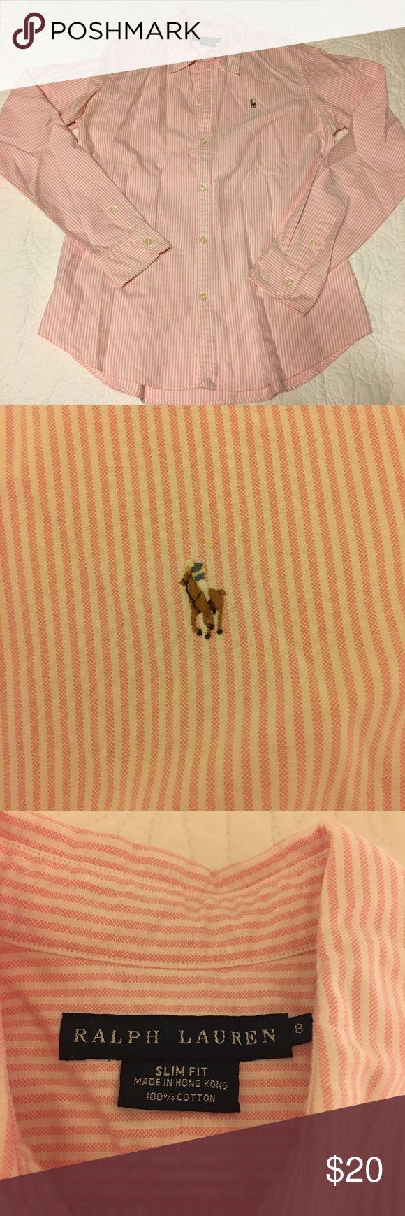 Polo Ralph Lauren women's striped Oxford Pink striped oxford in EUC by polo Ralph Lauren. Ralph Lauren Tops Button Down Shirts