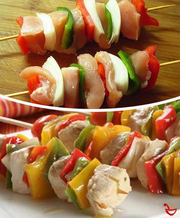 Brochettes De Pollo Y Verduras A La Parrilla Pollo Con Verduras Brochettes De Pollo Verduras A La Parrilla