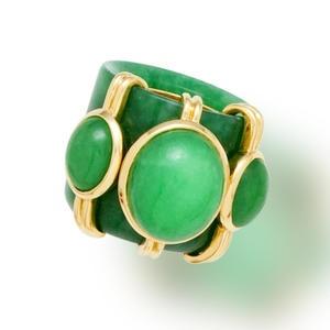 A jadeite jade archer's ring, Tony Duquette Sold for US$ 5,000 inc. premium